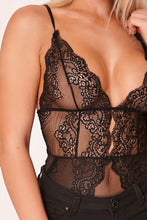 Load image into Gallery viewer, Black Sheer Scallop Lace Bodysuit