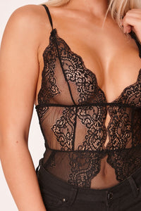 Black Sheer Scallop Lace Bodysuit