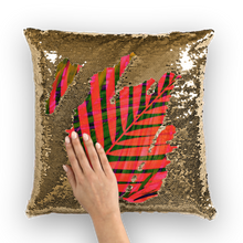 Load image into Gallery viewer, COLORFUL TROPICAL LEAVES Sequin Cushion Cover