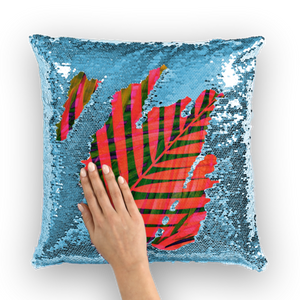 COLORFUL TROPICAL LEAVES Sequin Cushion Cover