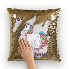 Load image into Gallery viewer, Born to be a unicorn Sequin Cushion Cover