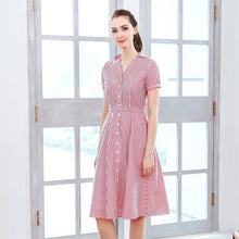 Load image into Gallery viewer, Ladylike Red stripe shirt dress