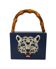 Load image into Gallery viewer, Bamboo Handle Indigo Wildcat Acrylic Box Clutch
