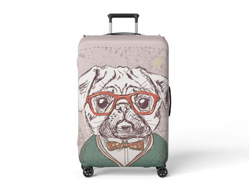 Luggage Suitcase Cover Pug Painting Print Travel