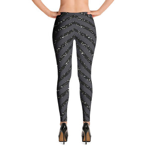 Flattering Butt Lifting Black Glitter  Leggings