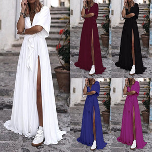 Long casual Boho dress deep v neck