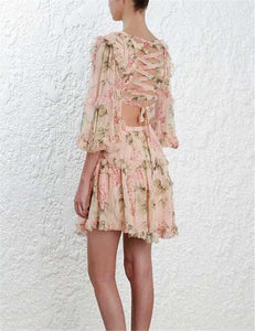 Frilly rayon floral summer dress