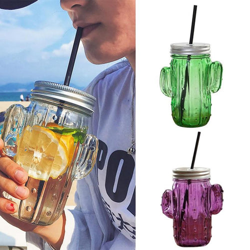 Funky Cactus Glass Mason Jar  With Lid And Straw