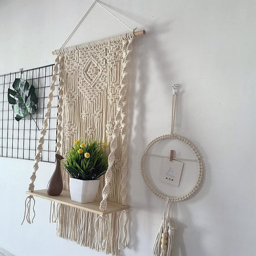 Plant Shelf  Wall Hanging Tapestry Macrame