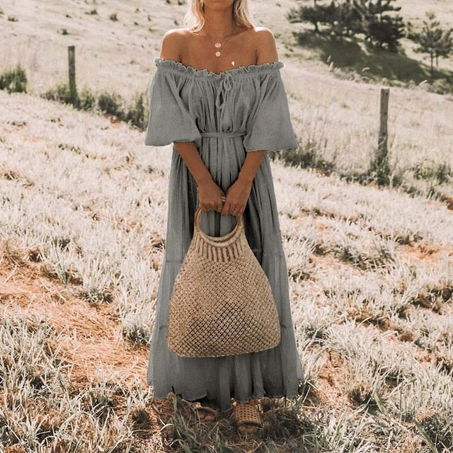 Half Puff Sleeve Loose Solid Boho Beach Dress
