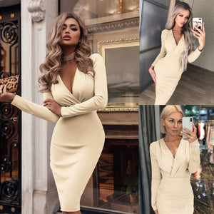 2020 Fashion Women Summer Long Sleeve Bandage Stretch Bodycon Plain Deep V Evening Party Short Dress Beige Black Green Red hot