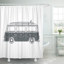Load image into Gallery viewer, Surfer Retro Vintage Travel Camper Van Surf Board Camp Shower Curtain