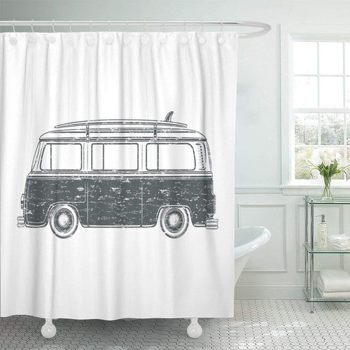 Surfer Retro Vintage Travel Camper Van Surf Board Camp Shower Curtain
