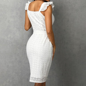 Summer cotton waist tie pencil dress