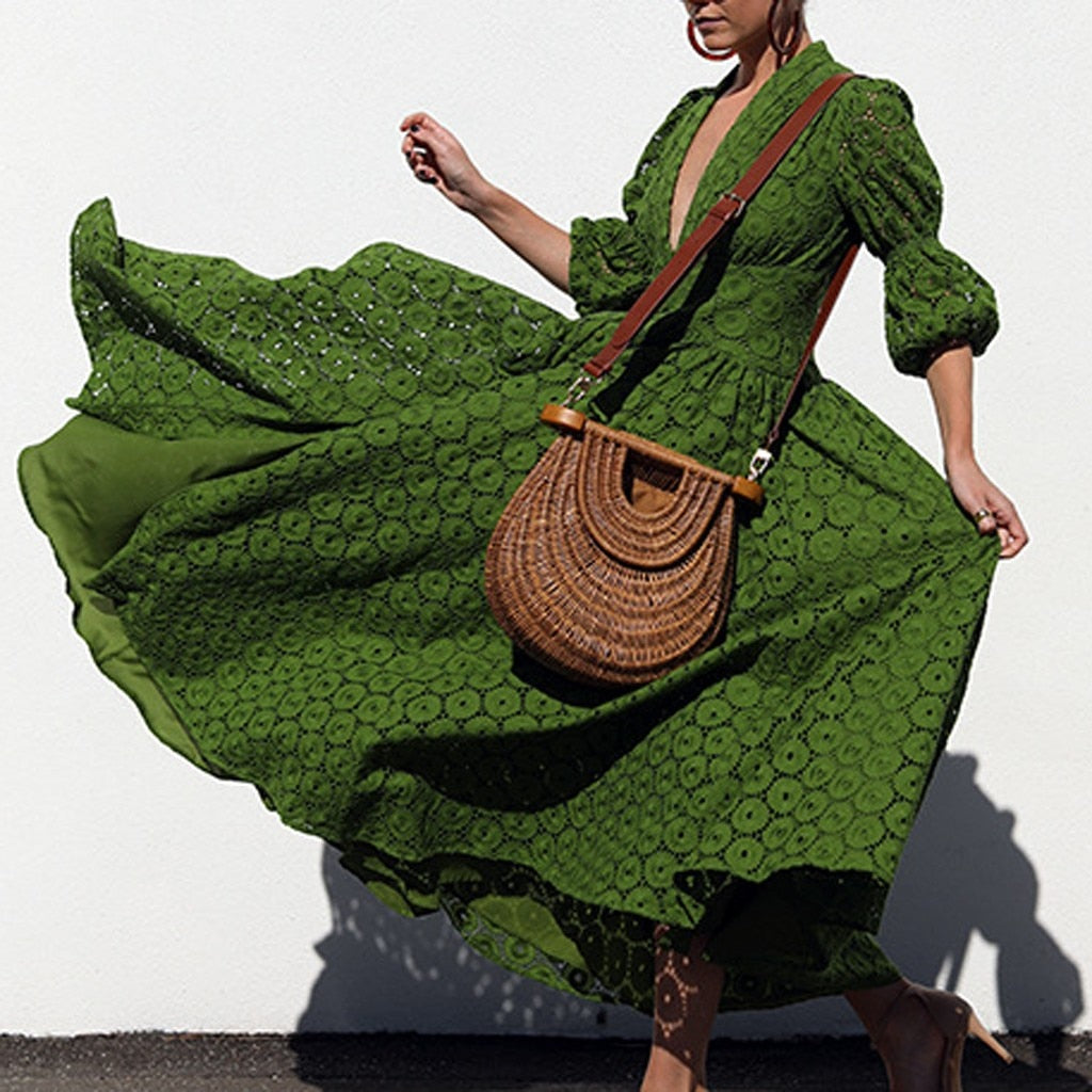 Long detailed sleeve  patchwork dress