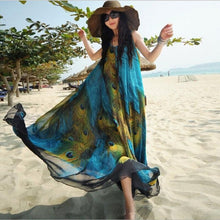 Load image into Gallery viewer, Peacock Feaher print beach dress