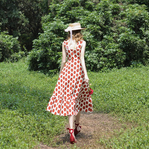 Vintage style summer dress  Red/Yellow Polka Dot