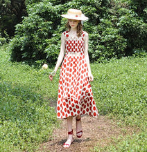 Load image into Gallery viewer, Vintage style summer dress  Red/Yellow Polka Dot