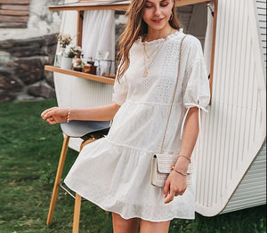 Beautiful white cotton summer dress