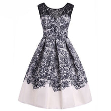 Load image into Gallery viewer, Beautiful printed swing dress in 2 colors with lace detail