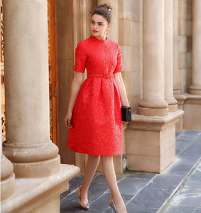 Beautiful Textured red 1950s style Swing dress