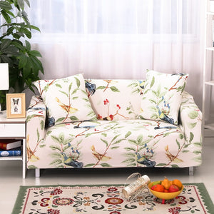 Spandex Stretch Leaf and Birds Pattern Sofa Cover Big Elasticity Sofa Furniture Cover