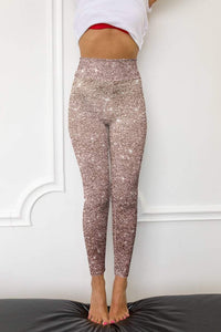Rose Gold Glitter Printed Leggings