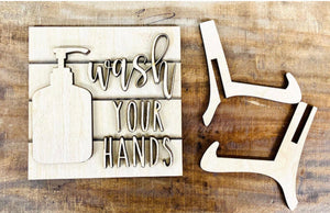 Wash your hands 3D sign with easel