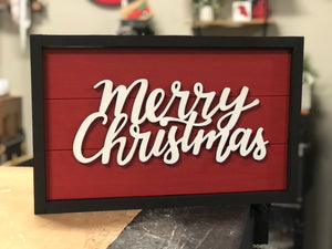 3D Merry Christmas Sign with Frame