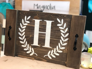 Serving/Drink Tray with Handles and Monogram