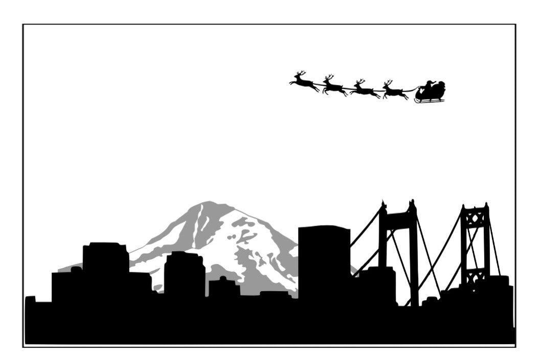 Tacoma Skyline with Santas Sleigh