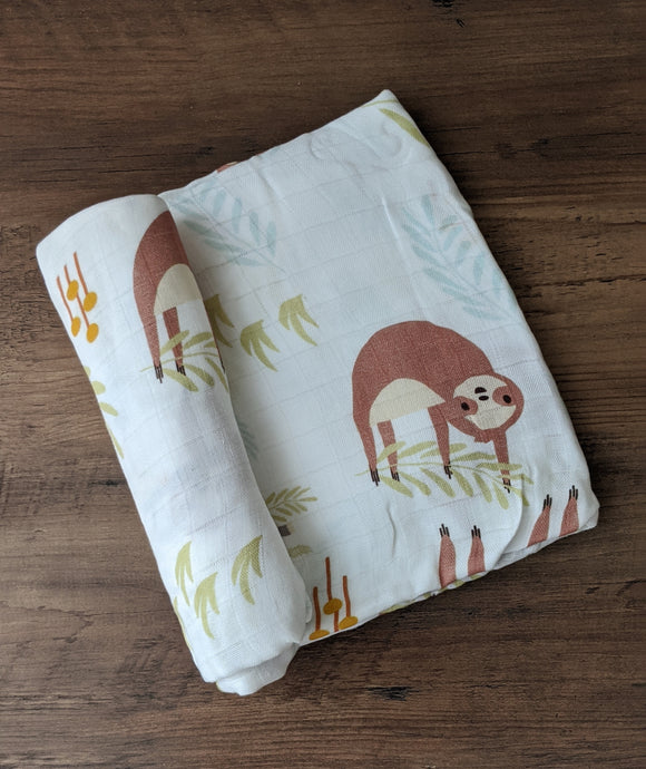 Sloth Bamboo Swaddle Blanket