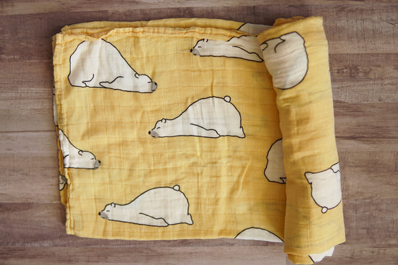 Polar Bear Muslin Blanket