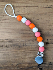 Pink and Orange Pacifier Clip