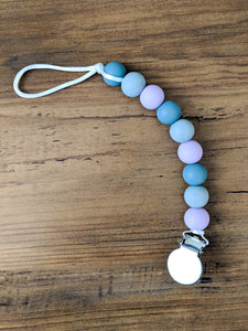 Purple and Gray Pacifier Clip
