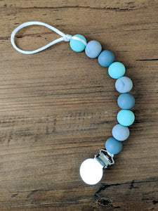 Mint And Gray Pacifier Clip