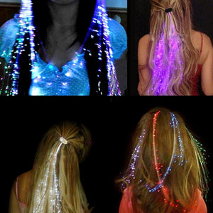 5x Fiber Optic Braid Plait Luminous Hair / cheveux lumineux fibre optique