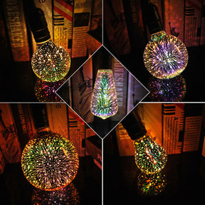 Ampoule LED effet de feux d'artifice 3D / Star Fireworks Effect Night light LED