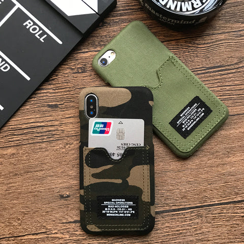 Military Camo Phone Wallet Case for iPhone