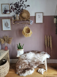 Willow is a large natural UK sheepskin - Pavot blue Interiors