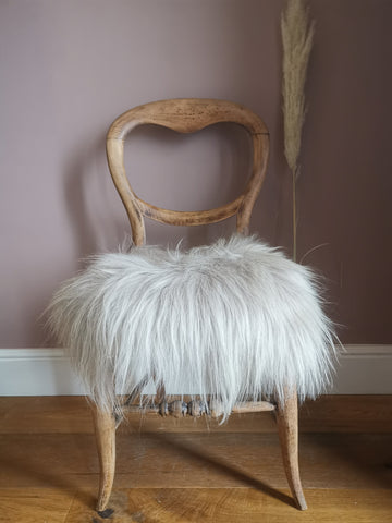 Linen sheepskin chair cover - Pavot blue Interiors