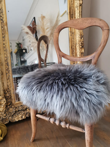 Grey swedish sheepskin chair cover - Pavot blue Interiors