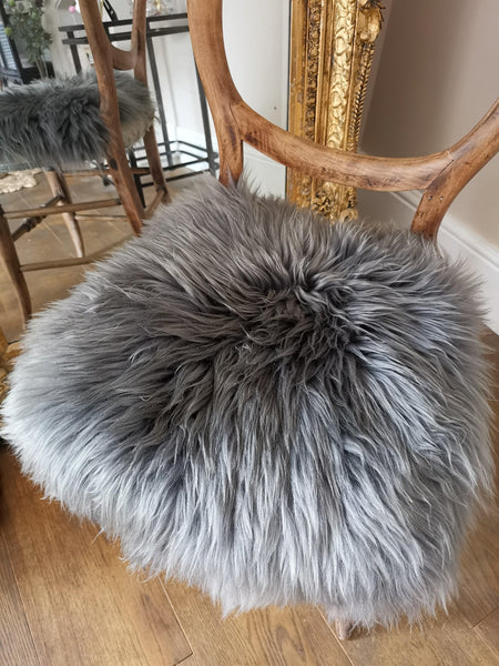 Grey swedish sheepskin chair cover