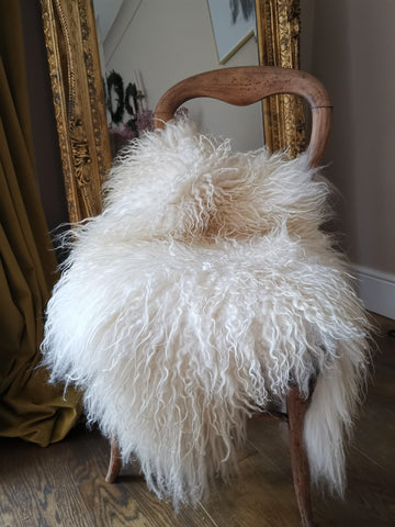 Small creamy white shaggy icelandic sheepskin