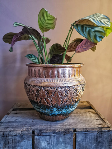 SOLD Large vintage copper plant pot - Pavot blue Interiors