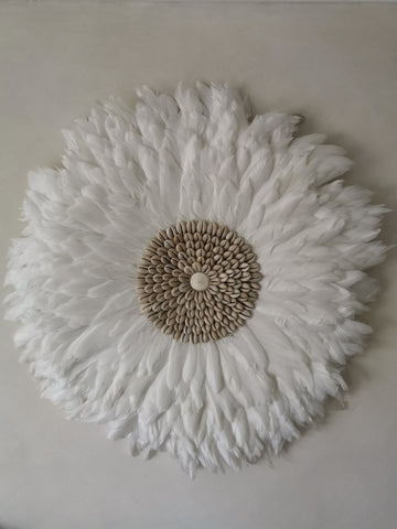 A beautiful white  juju hat wallhanging - Pavot blue Interiors