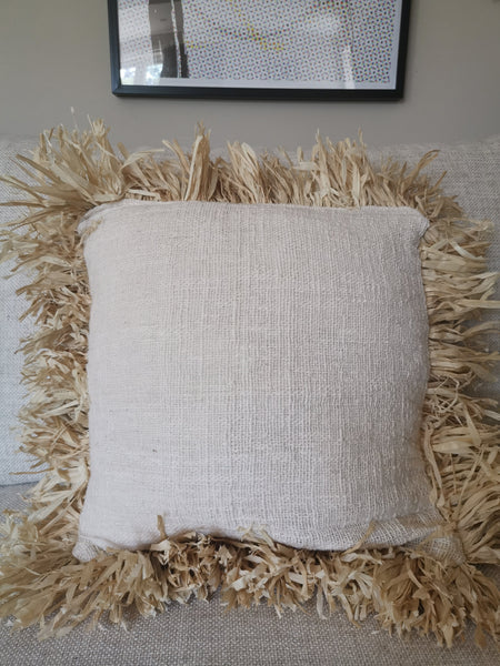 Raffia and cotton cushion cover