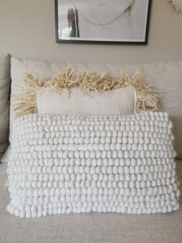 Cream wool boho cushion cover