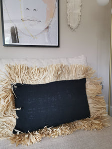 Raffia and cotton cushion cover - Pavot blue Interiors