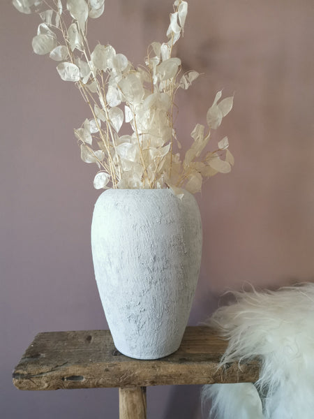 weathered white stone vase - Pavot blue Interiors